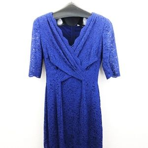 Tahari Arthur S. Levine Dark Blue Lace Dress Sz 6